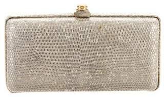 Oscar de la Renta Metallic Embossed Leather Box Clutch