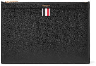 Thom Browne Small Pebble-Grain Leather Pouch - Black