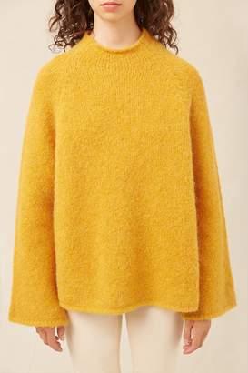 Mansur Gavriel Alpaca Wool Flared Sleeve Funnel Neck - Bright Yellow