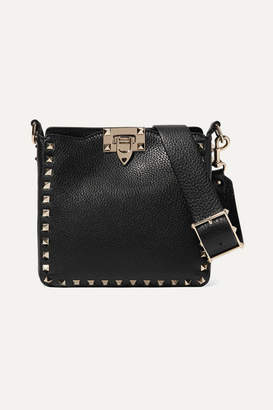 Valentino Garavani The Rockstud Hobo Mini Textured-leather Shoulder Bag - Black