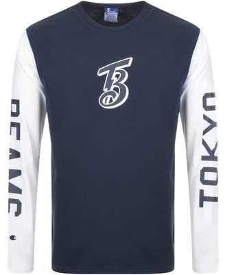 Champion X Beams Long Sleeve Logo T Shirt Navy