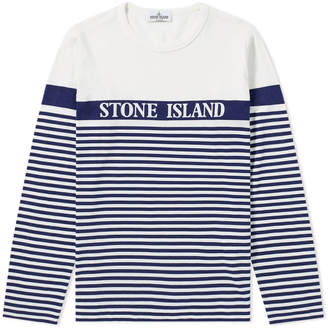 Stone Island Junior Long Sleeve Stripe Print Tee