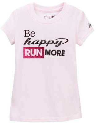 New Balance Short Sleeve Glitter Graphic Tee (Little Girls & Big Girls)