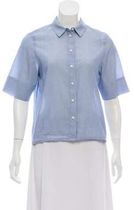 J Brand Short Sleeve Button-Up Blouse