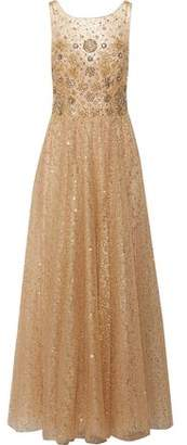 Marchesa Metallic Pleated Embellished Tulle Gown