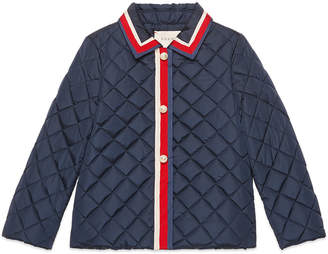 Gucci Quilted Web Trim Coat, Size 4-12