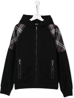 Burberry check print detail hoodie