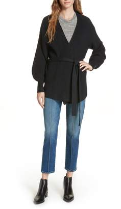Frame Puff Sleeve Belted Cardigan
