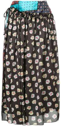 ASTRAET multi-print draped skirt