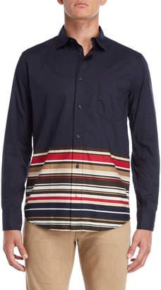 Armani Jeans Navy Regular Fit Striped Hem Shirt