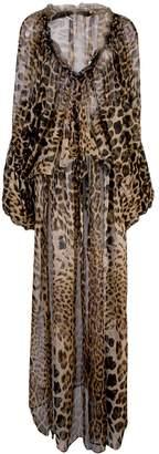 Saint Laurent leopard print flared dress