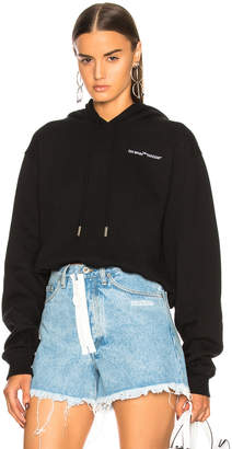 Off-White Off White Quotes Cropped Hoodie