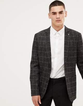 Farah Smart skinny windowpane check blazer in gray