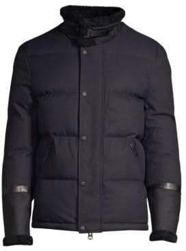 Mackage Men's Edmund Shearling-Trim Puffer Jacket - Navy - Size 46