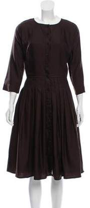Samantha Sung Midi Wool Pleated Dress