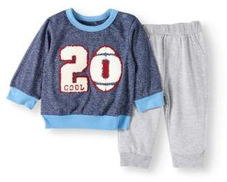 Bon Bebe Newborn Baby Boy French Terry Pullover & Pant 2pc Outfit Set