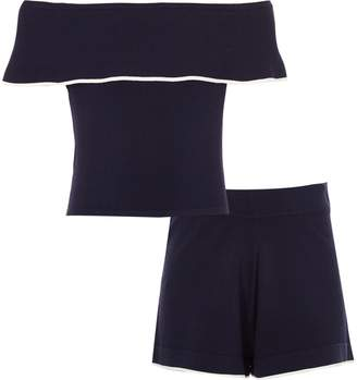 River Island Girls Navy bardot top and shorts outfit