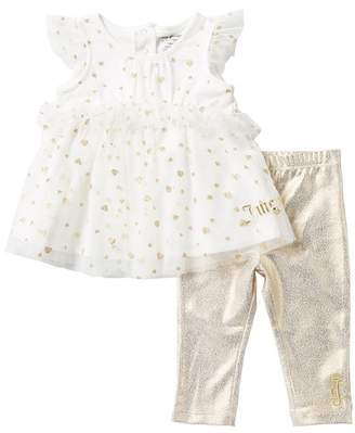 Juicy Couture Glitter Tunic & Foil Leggings 2-Piece Set (Baby Girls)