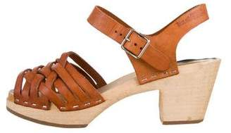 Swedish Hasbeens Leather Platform Sandals