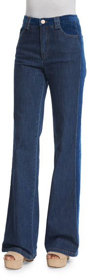 See By Chloe See by Chloe High-Rise Velvet-Trim Jeans, Washed Indigo