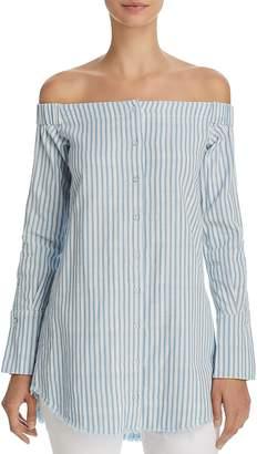 DL1961 Adelphi & Willoughby Off-the-Shoulder Striped Shirt