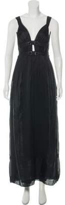 Alberta Ferretti Silk Pleat-Accented Dress Black Silk Pleat-Accented Dress