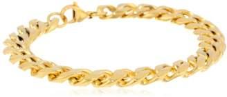 Men's -Tone Stainless Steel Flat Curb Chain Bracelet