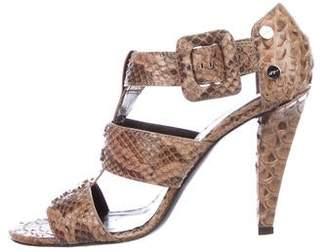 Roger Vivier Snakeskin Ankle-Strap Sandals