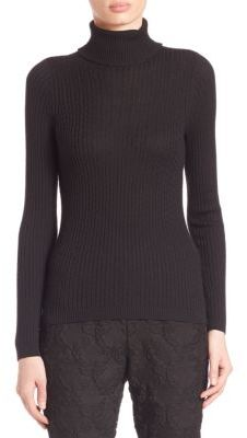 St. John Wool, Silk & Cashmere Cable Knit Turtleneck Sweater $595 thestylecure.com