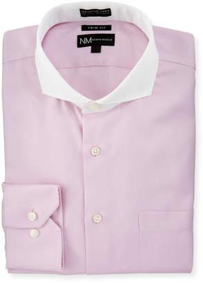 Neiman Marcus Trim Fit Non-Iron Herringbone Dress Shirt, Pink