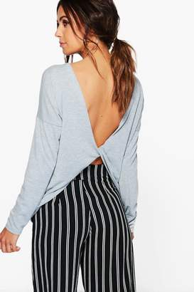 boohoo Petite Knitted Knot Back Top