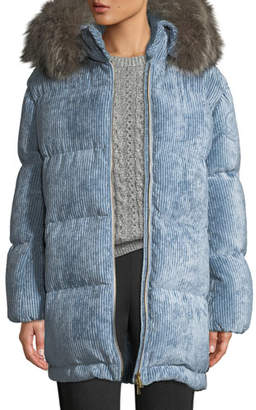 Moncler Mergule Corduroy Puffer Coat w/ Fur-Trim Hood