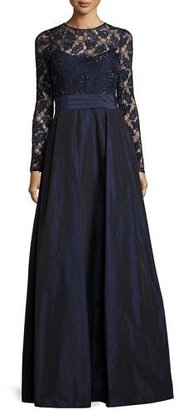 Rickie Freeman for Teri Jon Beaded Lace & Taffeta Gown, Navy $910 thestylecure.com