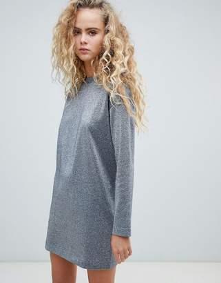 Weekday glitter sweater dress in silver