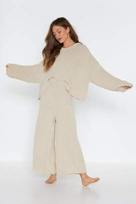 Nasty Gal Womens Have It Easy Ribbed Hoodie And Jogger Set - Beige - L, Beige