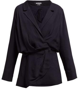 Jacquemus Sisco Double Breasted Twill Blazer Dress - Womens - Navy