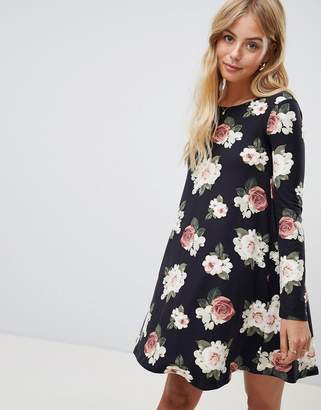 5d9a082444 Brave Soul Florence Long Sleeve Swing Dress in Floral Print