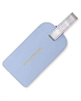 Alice Pleasance Apw Leather Luggage Tag - Misty Blue/Silver