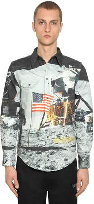 Calvin Klein Established 1978 MOON LANDINGS PRINT COTTON WESTERN SHIRT