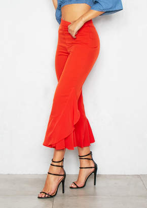 Missy Empire Missyempire Mae Red Frill Cropped Trousers