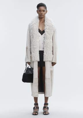 Alexander Wang LEATHER ROBE WITH SHEARLING COLLAR JACKETS AND OUTERWEAR