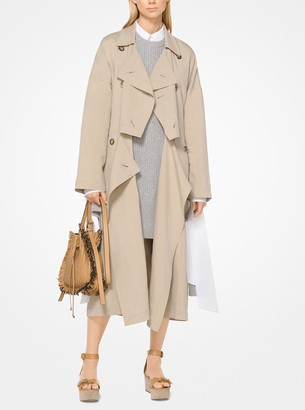 Michael Kors Washed Linen and Silk Flyaway Trench Coat