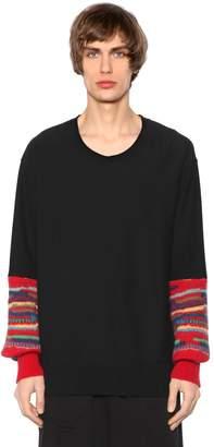 Facetasm Cotton Jersey Sweatshirt W/ Wool Cuffs