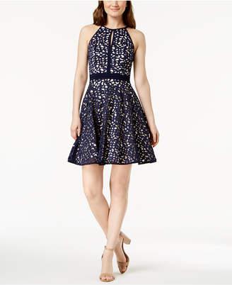 Xscape Evenings Laser Cut Halter A-Line Dress