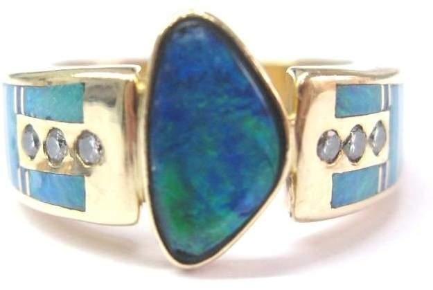 14k Yellow Gold Fine Multi-Colored Boulder Opal Diamond Designer Jewelry Ring