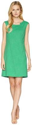 Tahari ASL Grasscloth Pintuck Neck Sheath Dress Women's Dress