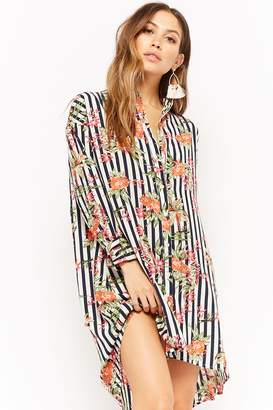 Forever 21 Floral Striped Button-Front Tunic