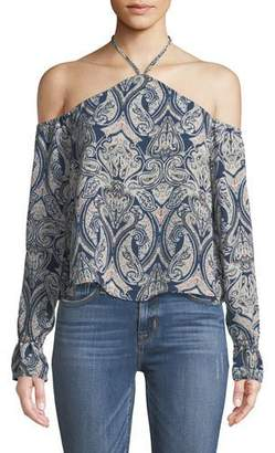 Cupcakes And Cashmere Akasha Halter Cold-Shoulder Paisley-Print Top