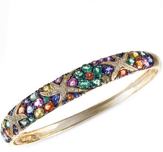 Effy Watercolors by Multicolor Sapphire (7-5/8 ct. t.w.) and Diamond (1/4 ct. t.w.) Starfish Bangle in 14k Gold, Created for Macy's