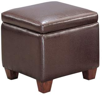 Benzara Contemporary Leather Cube Storage Ottoman